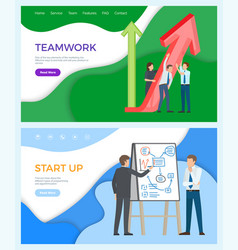 Teamwork business promotion whiteboard with plans vector