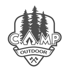 The camp outdoors hiking vector