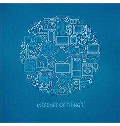 Thin Line Internet of Things Icons Set Circle vector