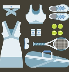 Top View Set Of White Tennis Women Gears vector