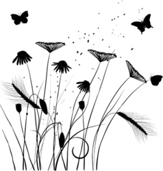Traced graphic elements weeds and butterflies vector image