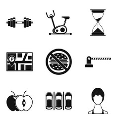 training process icons set simple style vector image