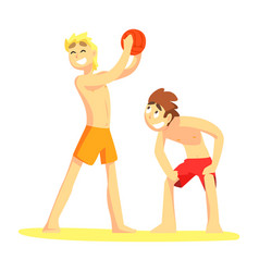 two guys playing volleyaball part of friends in vector image