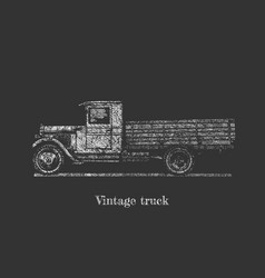 Vintage truck on blackboard vector