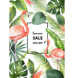 Watercolor summer sale banner of tropical vector