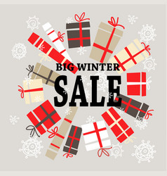 Winter sale background with black lettersgifts vector