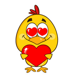 yellow chick character holding a valentine heart vector image
