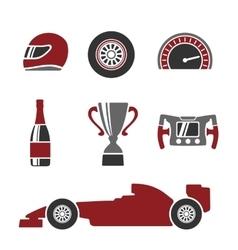 Car race icons set Helmet wheel tire vector image vector image