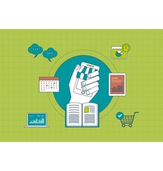 Distance education e-learning and mobile vector image vector image