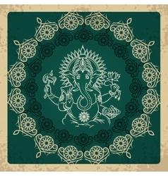 Indian god elephant Ganesha vintage card vector image vector image