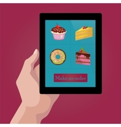 Online order sweets and cookies via internet vector image