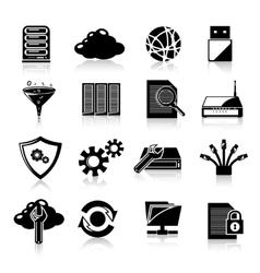 Database icons black vector image