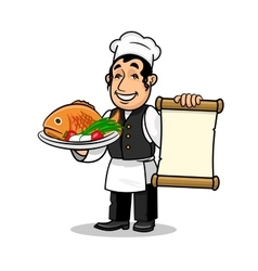 Fish restaurant Chef Menu card template vector image vector image