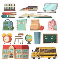 school orthogonal icon set vector image