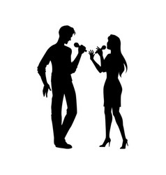 black silhouettes of man woman singing together vector image
