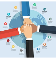 Business team showing unity global business vector image