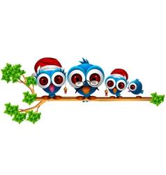 cute chritsmas blue birds family vector image
