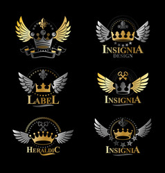 royal crowns emblems set heraldic design elements vector image