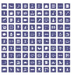 100 balance icons set grunge sapphire vector