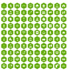 100 team icons hexagon green vector image vector image
