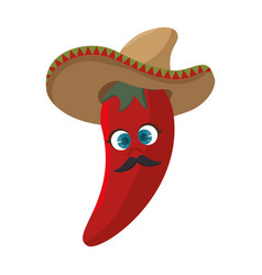 Cartoon red hot chili pepper with mexican hat vector