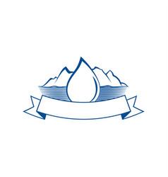drop of water and mountain lake emblem vector image vector image