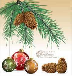 Fir tree with pine cones background vector image vector image
