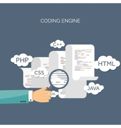Flat background Coding vector image vector image