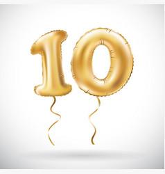 golden number 10 ten metallic balloon party vector image