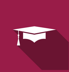 graduation cap with long shadow graduation hat vector image