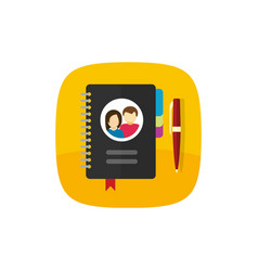notepad for contacts icon or button vector image vector image