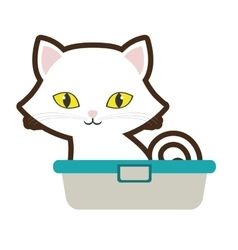 small cat sitting yellow eyes bathtub vector image vector image