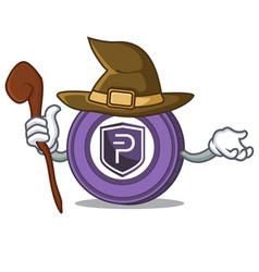 Witch pivx coin mascot cartoon vector