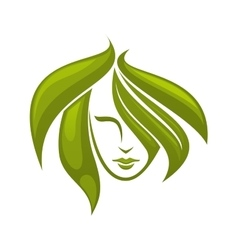 Woman with swirling green hair - icon vector image vector image