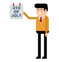 a man shows a calendar with the fourth of july vector image