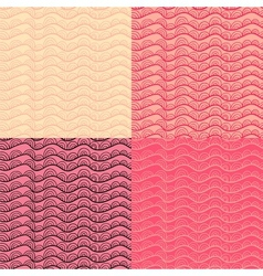 Abstract doodle seamless pattern set in rosy and vector