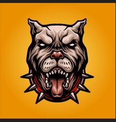 Angry dog pitbull logo mascot vector