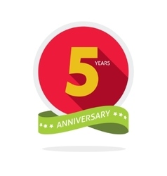 Anniversary 5 years logo badge 5th birthday flat vector image