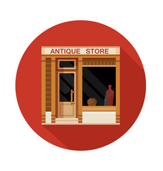 antique store front view flat icon vector image