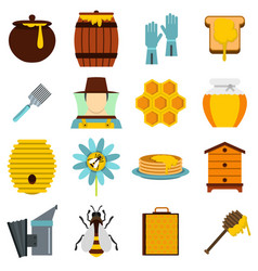 apiary tools set flat icons vector image