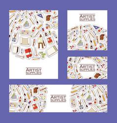 art studio pattern studying in art-school vector image