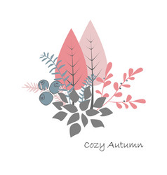 autumn bouquet forest trees bushes and vector image