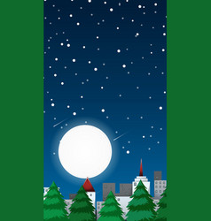 Background scene with fullmoon in city vector