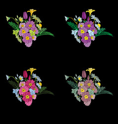 beautiful flowers embroidery design elements vector image