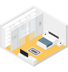 Bedroom isometric set vector image