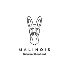 belgian malinois dog line art logo design vector image