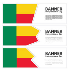 Benin flag banners collection independence day vector