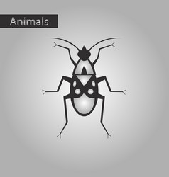Black and white style icon of soldier bug vector