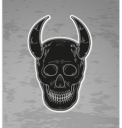 Black skull with horns vector