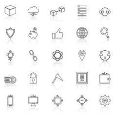 Blockchain line icons on white background vector